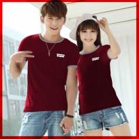 [Cp T-Shirt Levis Cl] Baju Couple Combet Maroon -Sale Off