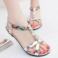 Jual Sandal Wanita Teplek Flat Shoes Perak TP20 Murah