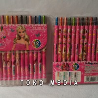 Crayon Gambar Model Putar 12 Warna Karakter BARBIE