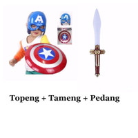 Jual Tameng dan Topeng Nyala Captain America Mask and Shield Avengers Murah
