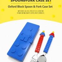 oxford lego block cutlery + case sendok garp makan anak original korea