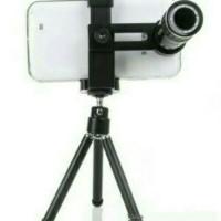 Jual Lensa Tele 8X Zoom + Tripod Mini + Holder untuk smartphone Murah