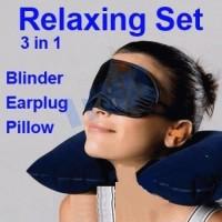 Bantal Leher Tiup & Tutup Mata Telinga / Travel Pillow Set