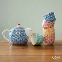 Jual UCHII Ceramic Tea Pot set - Wave Pattern / Teko Teh & Cangkir Keramik Murah