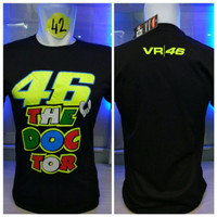 kaos vr 46 font Valentino Rossi the doctor moto gp combed hitam