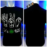 kaos combed hitam 420 jari reggae rasta baju distro shirt