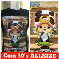 kaos combed hitam dr tony tony chopper one piece choper coper rusa
