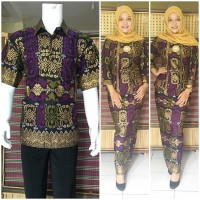 harga Couple Batik | Baju Couple | Sarimbit Batik Muslim Bsg574 Ungu Tokopedia.com