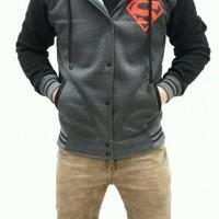 jacket hoodie varsity superman dark grey black pria
