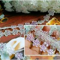 pr M renda akrilik sambung kristal bunga clear CKCJP-779 cantik bening