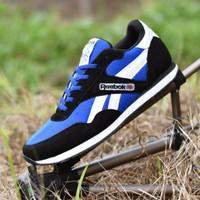 Sepatu Sport Reebok Classic Grade Ori / Hitam Biru / casual pria