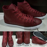 Sepatu Kets Converse Allstar Chucktaylor Tribal Leather High Maroon
