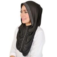 Jual Kerudung / Bergo / Hijab Instan hitam Java Seven OKI 012 murah asli Murah