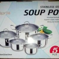 Jual Panci Set Soup Pot 5 set ( Tutup Kaca ) Murah