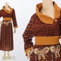 BAJU MUSLIM BATIK MODEL TERBARU GROSIR LONG DRESS BATIK ELEGAN MURAH