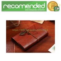 Buku Catatan Binder Note Retro Leaf Leather A6 Paper - Brown