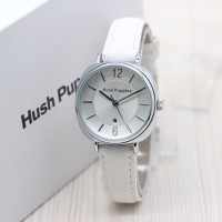 Jam Tangan Wanita / Cewek Hush Puppies New Leather White Silver