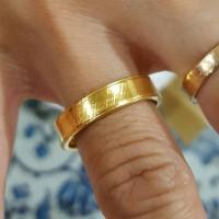 Cincin Mesin Polos Kawin Couple Lapis Emas Kuning 24k