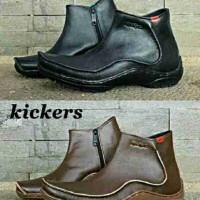 Sepatu Pria Kickers Jhon Legend Zipper Leather Semi Boots Casual Kerja