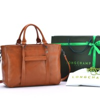 Tas Longchamp 3D Medium Leather Tote COKLAT MUDA Semi Premium AP1285