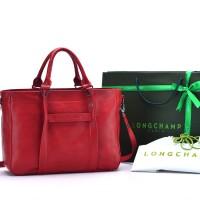 Tas Longchamp 3D Medium Leather Tote MERAH Semi Premium AP1285