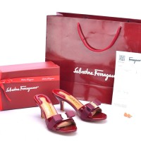 Sandal Salvatore Ferragamo Glory Bow Patent Slide Maron SP805P