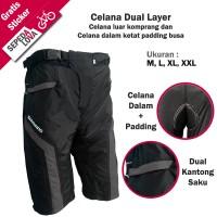 Celana Sepeda 2in1 atau Dual Layer Padding Shimano (Selutut)
