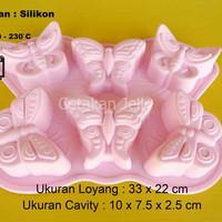 Cetakan Kue / Puding Medium Butterfly 6 cav