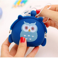 Dompet koin kartun burung hantu / tempat koin owl / tem Berkualitas
