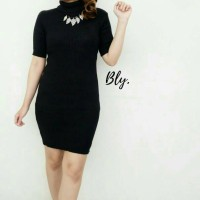 Jual VINA TURTLENECK DRESS BLACK - BODYCON DRESS / BODYFIT Murah