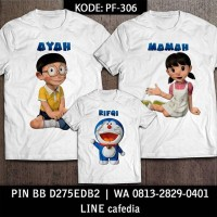 Baju Kaos Keluarga |Ultah| Couple | Kaos Motif Doraemon 7 Bisa Custom