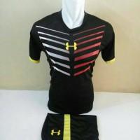 Setelan Futsal, Kostum Tim Futsal, Jersy Bola, Hitam List Kuning
