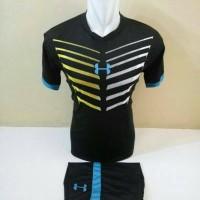 Setelan Futsal, Kostum Tim Futsal, Jersy Bola, Hitam list Biru