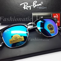 BEST SELLER !! Rayban Clubmaster 3016 Silver Frame w/ Blue JADE Lens