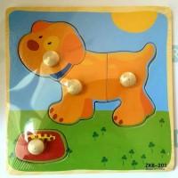 Puzzle Knob Pin Kayu Baby Gambar Anjing Mainan Edukasi Anak