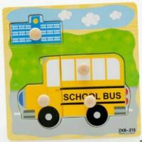 Puzzle Knob Pin Kayu Baby Gambar Bis Sekolah Mainan Edukasi Anak
