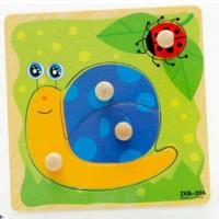 Puzzle Knob Pin Kayu Baby Gambar Siput Mainan Edukasi Anak