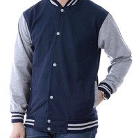 Jual JAKET POLOS BASEBALL NAVY LIST ABU ! SWEATER BASE BALL MURAH VARSITY Murah