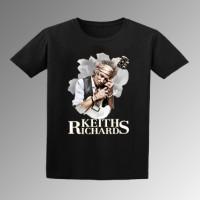 Keith Richard hitam T-shirt Pria S-3XL