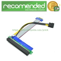 PCI-E 1x to 16x Flex Cable Riser Extension Adapter Card with Molex Pow