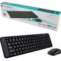 Logitech Wireless Mouse Keyboard MK220 Combo PC Komputer Laptop Game