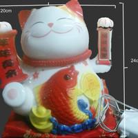 SALE Kucing 35901 White Ceramic / Kucing Keberuntungan / Maneki Neko