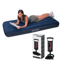 """Intex Flocked Air Bed Single Kasur Ranjang Angin + Pompa Angin 11.5"""""""