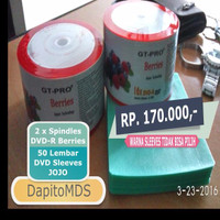 PROMO GT-PRO 2x DVD-R Blank Berries 16X ISI 50 + 50 Lembar DVD Sleeve