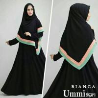 gamis ummi syari bianca black baju muslim wanita remaja bagus murah