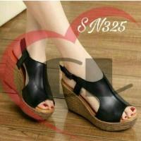 Jual sepatu wedges wanita murah hitam WS131 Murah