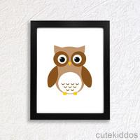 Dekorasi Kamar Anak Kartun Binatang Burung Hantu - Owl - Pigura Hiasan