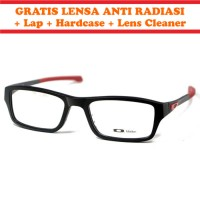 Frame Kacamata Minus Anti Radiasi OAKLEY CHAMFER Hitam Merah KW