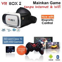 VR BOX 2 + Gamepad T3 + 8Gb Sdcard M01 Kacamata Games Films Movie