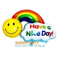 balon foil pelangi / balon have a nice day / balon smile pelangi mini